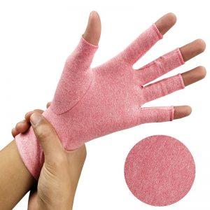 Arthritis compression gloves pink